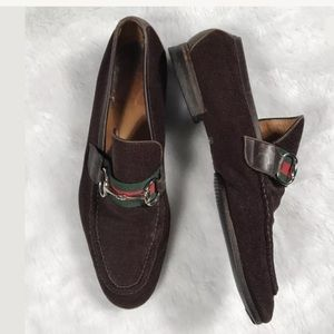 RARE VTG GUCCI WEB HORSEBIT LOAFERS BROWN TERRY